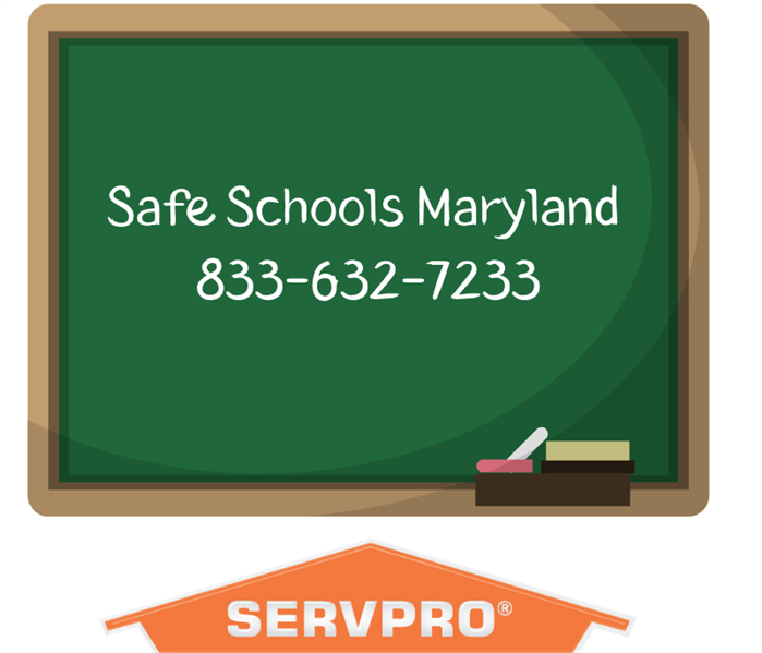 Chalk board with Safe Schools Maryland Phone Number 833-632-7233